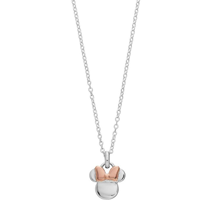 Disney's Minnie Mouse Two Tone Sterling Silver Pendant Necklace, Women's, White