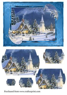A5 Christmas vintage village church scene on Craftsuprint designed by Jan Fisher - a5 pyramid card front - Now available for download!