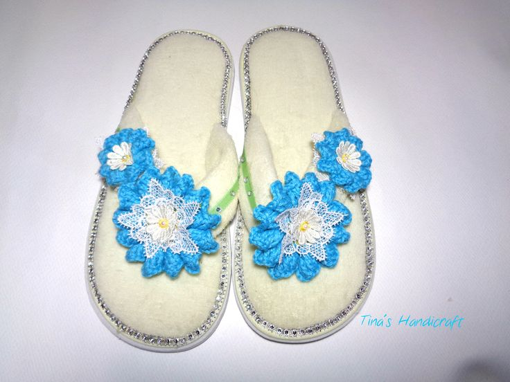 slippers for the home, flowers trimming,wedding slippers, gift ideas,bathroom accessory,turquoise cotton flowers,straps by TinasHandicraftGr on Etsy