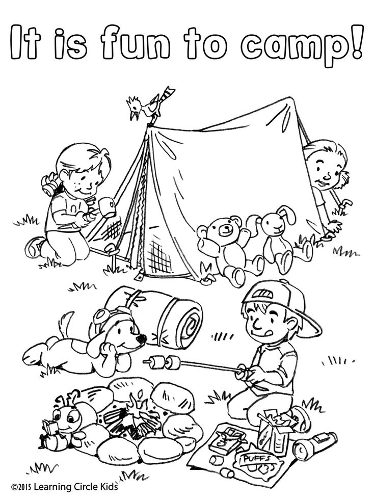 Free coloring and reading page. Summer Fun! Camping with Reader Bee and Friends.