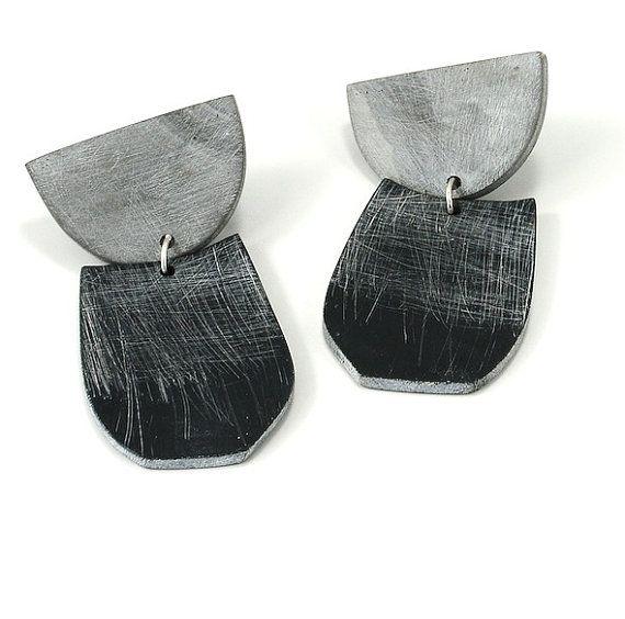 Large Half Moon drop earrings by jibbyandjuna on Etsy
