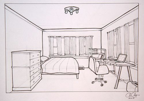 Objective: Create a one- point perspective drawing of your bedroom that demonstrates your understanding of perspective and use of proper tools. Materials: Pencil Ruler Eraser