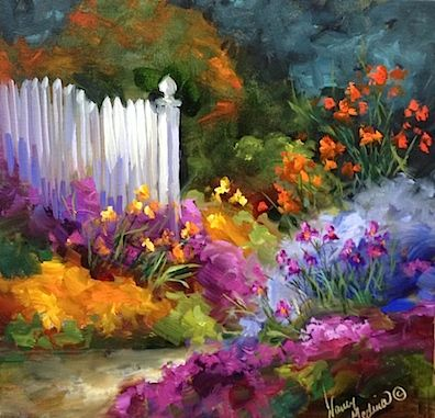 Garden Dreamers Cottage Path With Irises, oil on gallery wrap canvas, Flower Paintings by Nancy Medina www.nancymedina.com