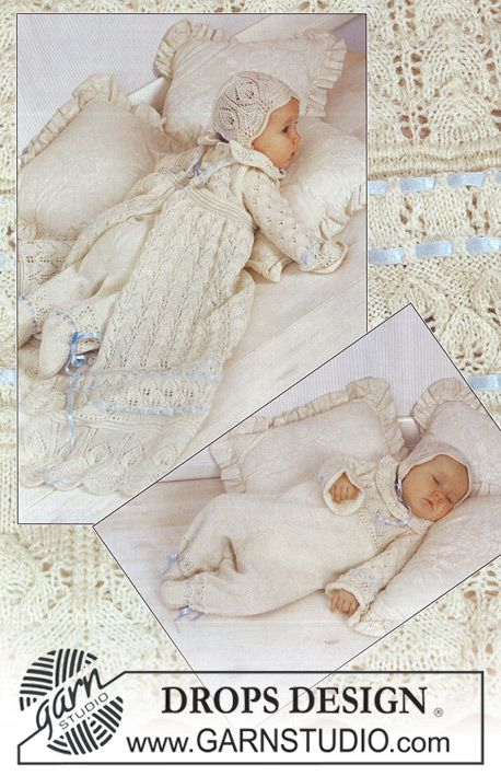 DROPS Doopjurk, mutsje en broekje met kantpatroon in DROPS BabyAlpaca Silk Gratis patronen van DROPS Design.