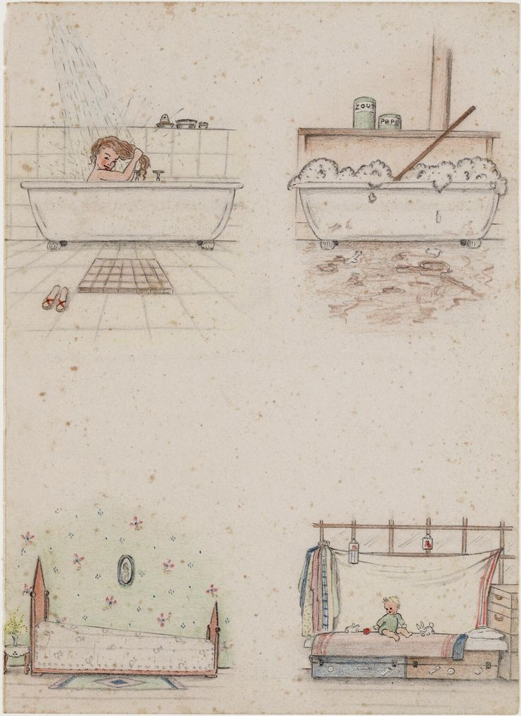 Bathing and bed before and during the internment by Joke Broekema, 1942-1945. Museon, CC BY