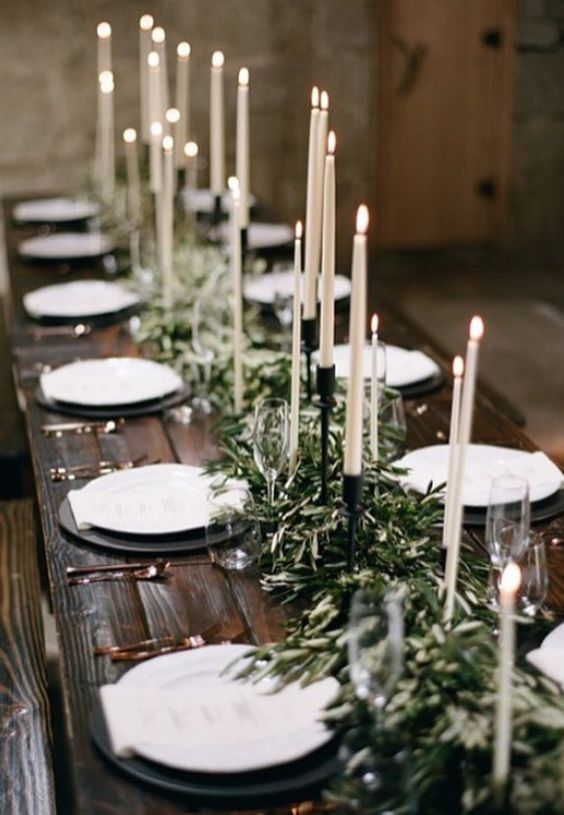 Green Bohemian Wedding Reception Centerpiece Taper Candlack Candles Rustic