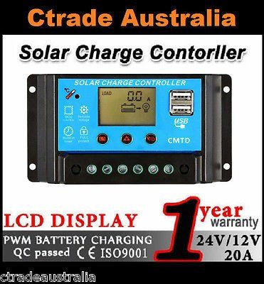 12V/24V Solar Panel Battery Regulator Charge Controller 20A PWM LCD Display A1 !