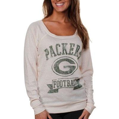 Junk Food Green Bay Packers Ladies Vintage Helmet Off Shoulder T-Shirt - Cream