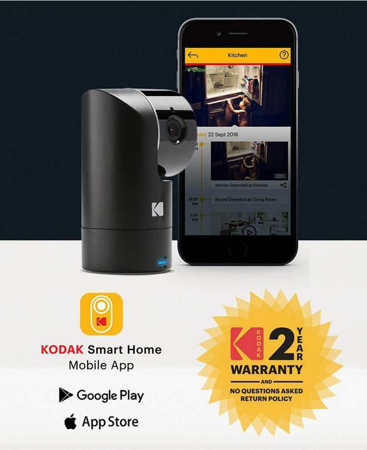 Kodak Cherish F685 Home Security Camera With Mobile App Full Hd Wireless Security Camera System With Infrared Night Vision Battery Tilt Pan Zoom 120deg Security Cameras For Home Wireless Security