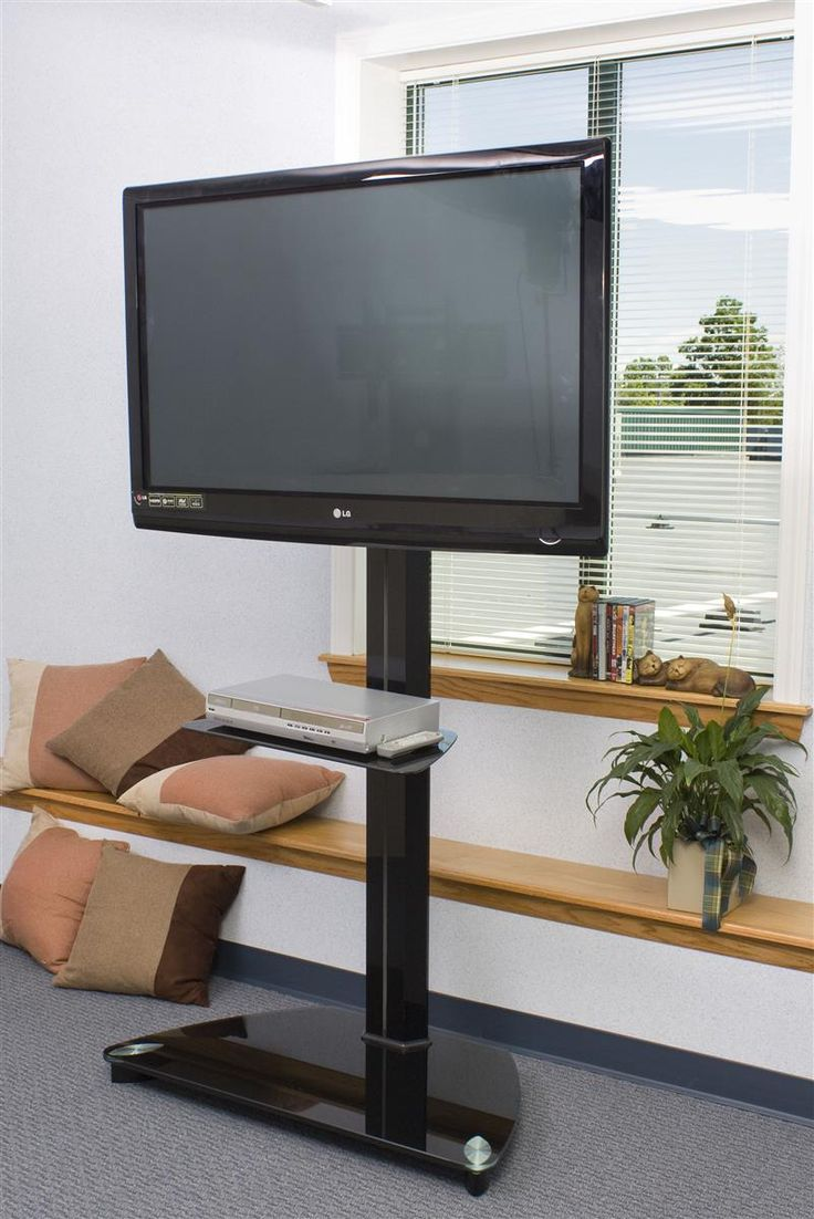 LCD TV Stand: with Black Glass Shelf