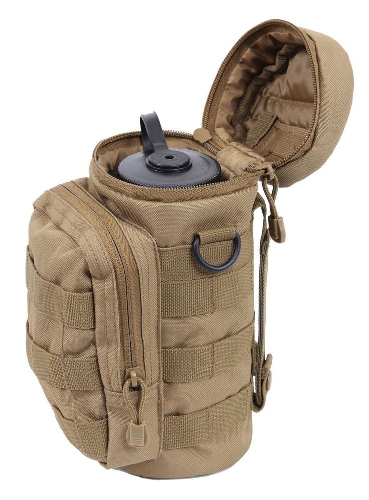Coyote Brown MOLLE Compatible Tactical Water Pouch Polyester Hydrating Pouches