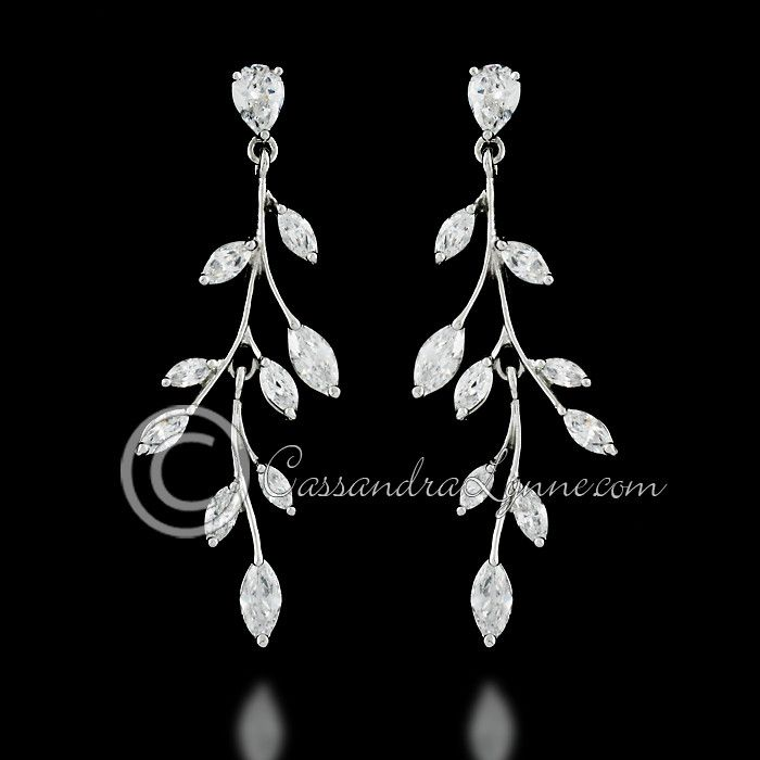 Marquise Wispy Vine Bridal Earrings from Cassandra Lynne