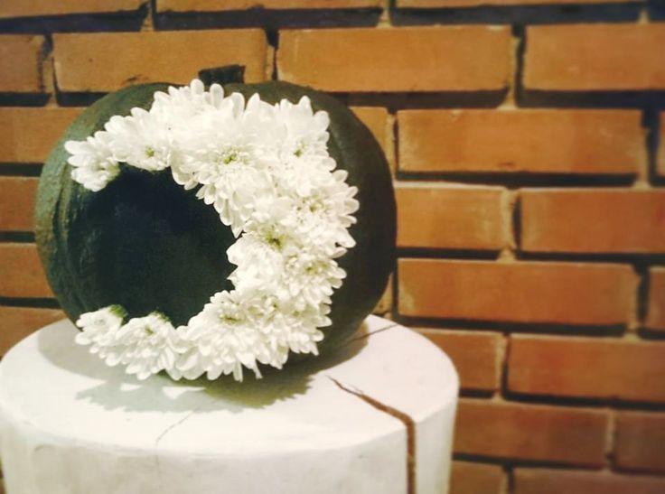 Ősz, félhold, tök....fehér krizantém...autumn, pumpkin, black, painting, moon, chrysanthemum, diy