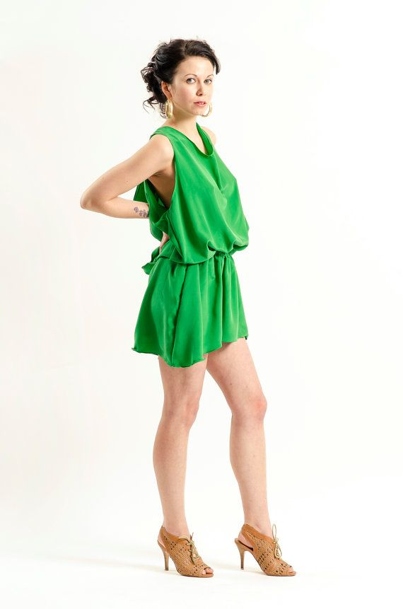 Emerald Green Silk Dress with Pockets by KandisIvy on Etsy, $150.00