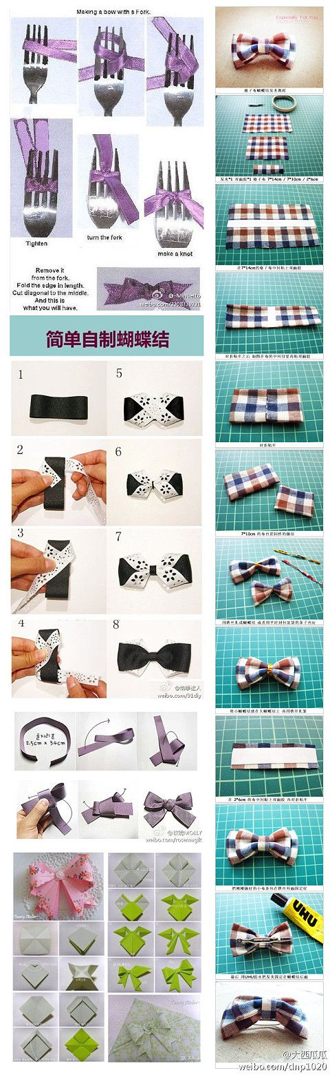 different styles of bows DIY @Brooke Baird Curtis  We might need these =)