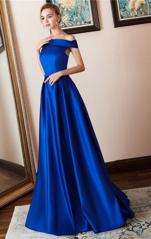 2727c81f7e Vestido De Festa Royal Blue A Line Long Satin by prom dresses from prom  dress