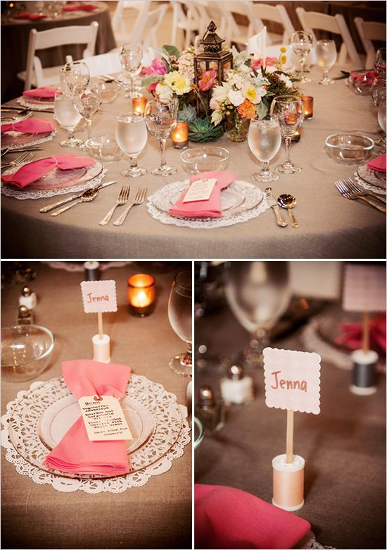 spools of thread for escort cards