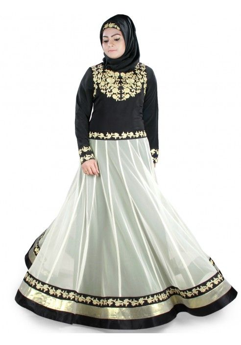 Dual color, round neckline. Beautiful contrast color embroidery in front. Contrast color panels all round below waist line with embroidered bottom. Straight sleeves with matching embroidery. Matching Square (100*100 cm) / Rectangle Hijab (50x180 cm) and Band can be bought separately. Fabric: Net & Crepe (100% polyester) Care: Dry clean/Hand Cold Wash