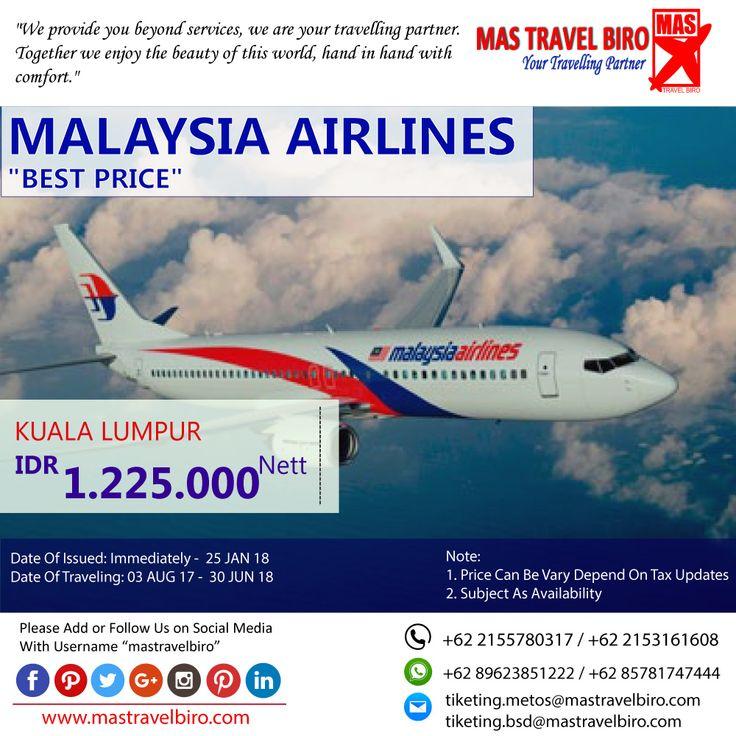 HOT PROMO Tiket MALAYSIA AIRLINES, Booking Sekarang hanya tinggal hari ini!!!  Beli tiket pesawat & KAI, booking hotel dan beli paket tour diMas Travel Biro ajaa.  #mastravelbiro #promotiket #travelservices #tiketpesawat #travelagent #tourtravel #travelindonesia #opentrip #familytour
