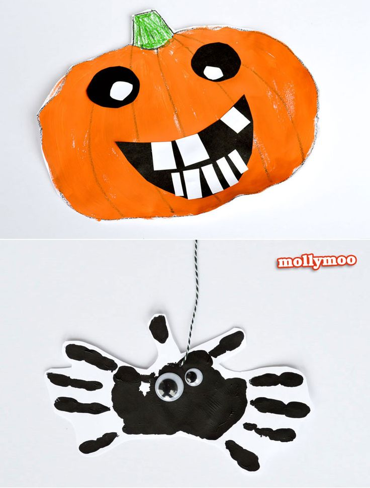 20 minute Halloween Art Projects for Kids - funny face pumpkins and handprint spider mobile | MollyMoo