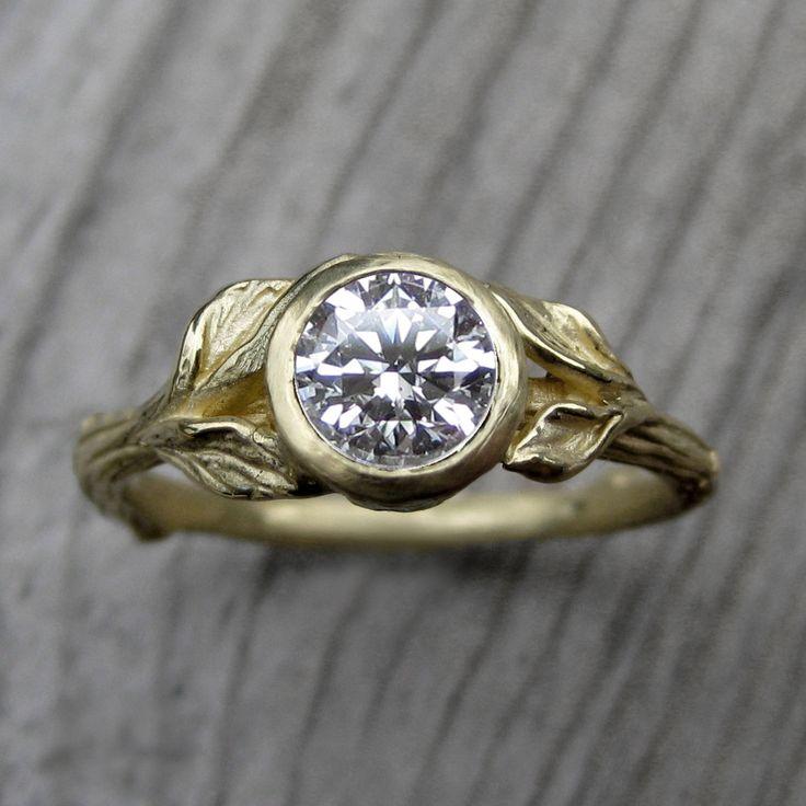 Diamond Twig & Leaf Engagement Ring | Kristin Coffin Jewelry