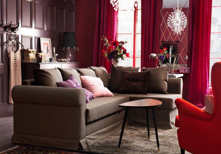 Same room set up for daytime. IKEA corner sofa, coffee table, rug, lighting and armchair. Love the colors!!