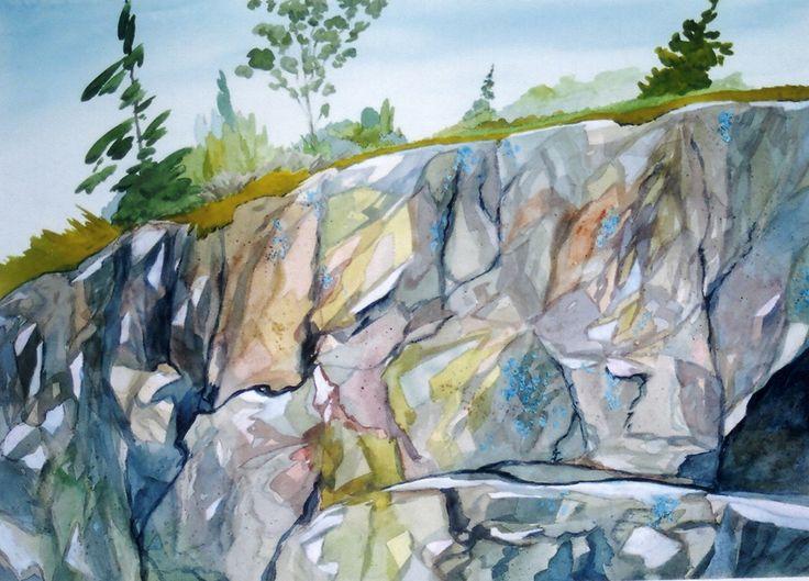 "A Dennis Kalichuk original watercolour on Arches paper.  ""Blue Lichen"""
