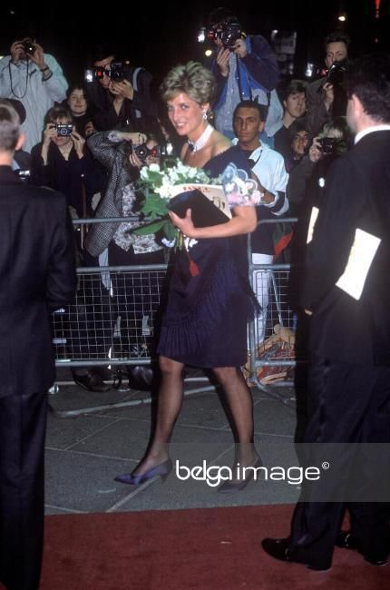 """May 23 1991 Diana attends a charity performance of """"Tango Argentino"""" in aid of the National AIDS Trust & AIDS Crisis Trust at the Aldwych Theatre,  London WC2"""