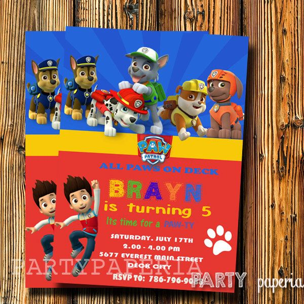 A personal favorite from my Etsy shop https://www.etsy.com/listing/247276970/paw-patrol-invitation-paw-patrol-chalk