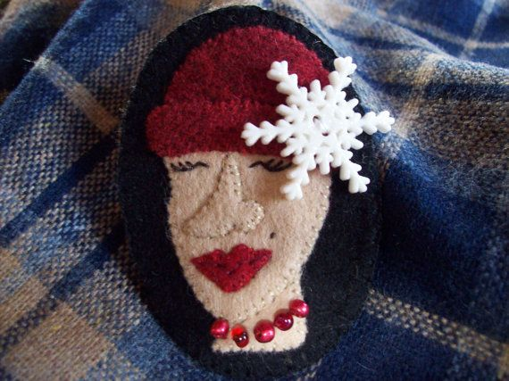 Crazy Hat Lady Winter Snowflake Stocking Cap Brooch by rustiquecat