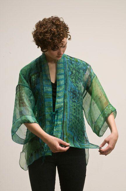 Teal Edge Sea Green Organza Kimono  Hand painted with fiber reactive dye, 100% organza silk, serged edge.