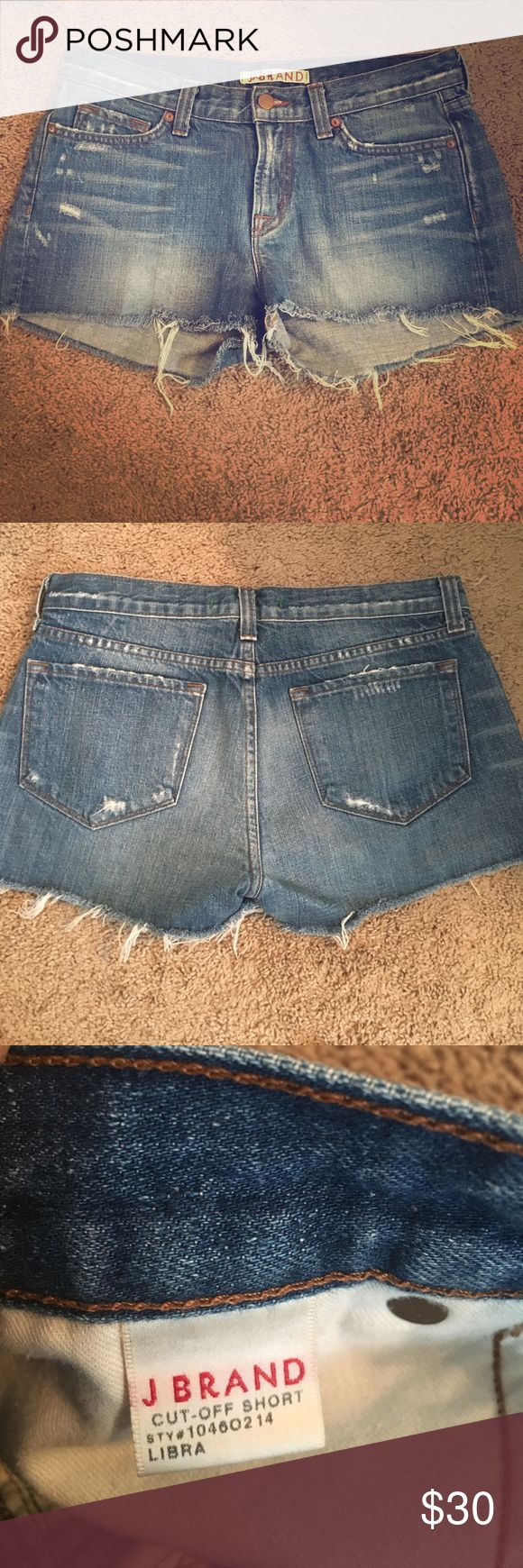 J Brand Cut-Off Denim Shorts - Size 28 J Brand Cut-Off Denim Shorts - Like New! Size 28, Style #10460214, Color Libra, 100% cotton, Retail $125. Never been worn, in excellent condition. I got them from someone in merchandising so they have initials written on the inside tag. J Brand Shorts Jean Shorts