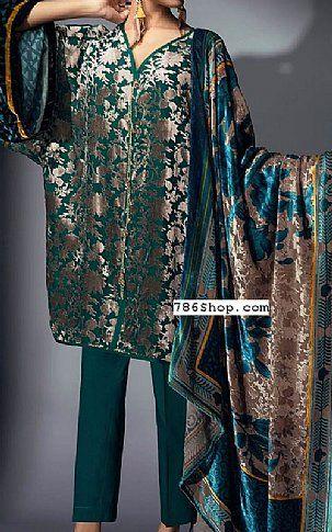 Teal Green Velvet Suit (2 Pcs) | Buy Khaadi Pakistani Dresses and Clothing online in USA, UK