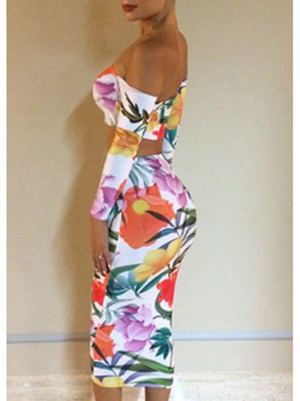 Modern dresses: Two Piece Design Off The Shoulder Backless Dress