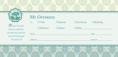 My Offering (Proverbs 3:9)/ 100 Envelopes, Bill size  -