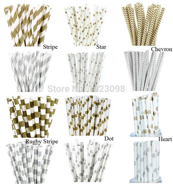 25pcs/lot Gold /Silver Design Paper Straws for birthday wedding decorative party event supplies Creative Drinking Straws
