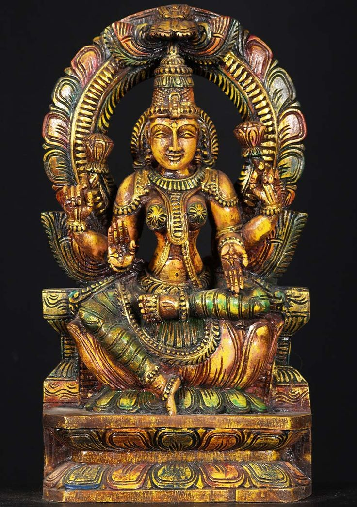 SOLD Wooden Seated Lakshmi Statue 18