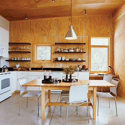 Fir Plywood Walls And Ceiling. Metal Wall Grids Neatly Hide The Rough Cut  Edges