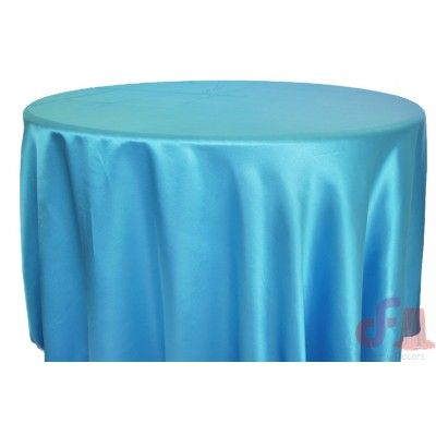 Sky Blue Round Satin Tablecloth
