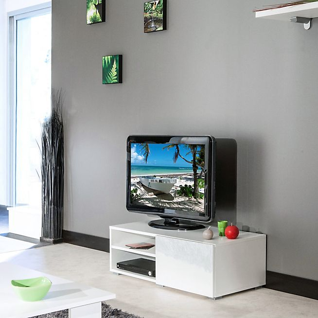 Sonlo Meuble TV blanc laqué double niche et 1 tiroir