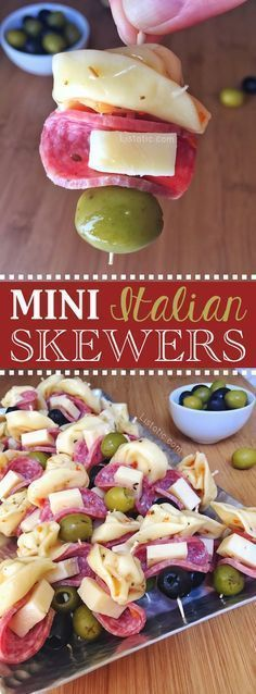 Easy Italian tortellini appetizer skewers for a party! A super quick, cold kebab recipe you can make ahead-- The perfect finger food idea for a crowd! Listotic.com (thanksgiving snacks for party)