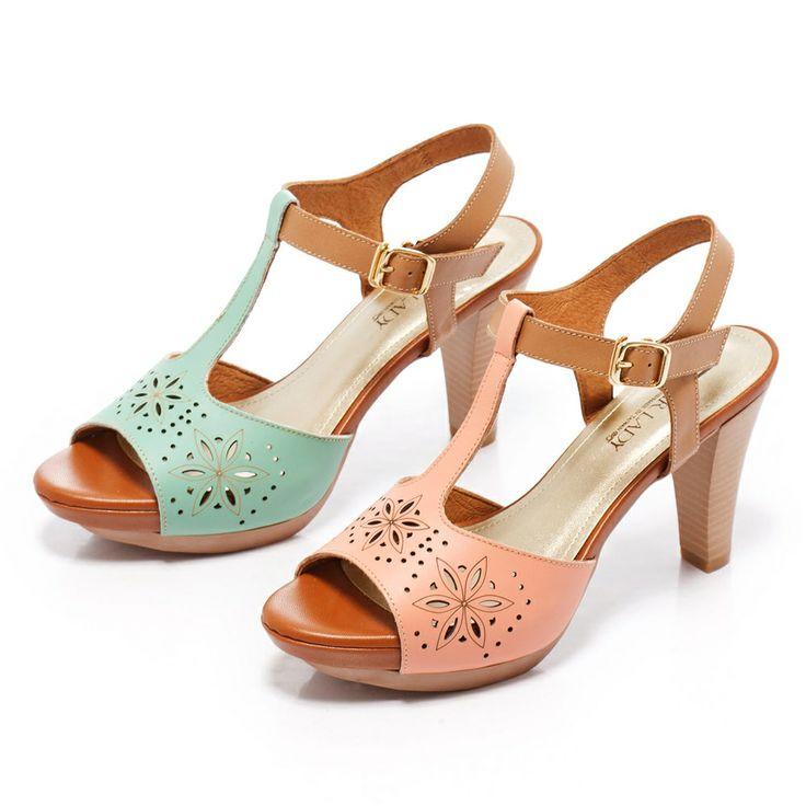 0-2280 Fair Lady T字型繫帶雕花魚口粗跟鞋 綠 - Yahoo!奇摩購物中心