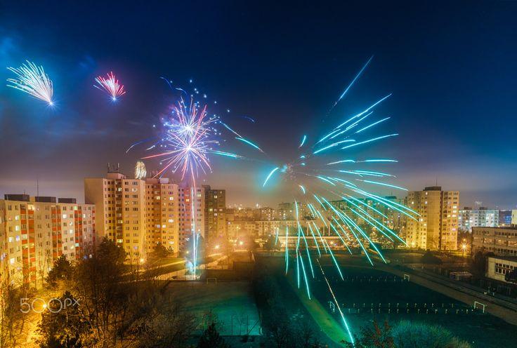 Local fireworks - Local Fireworks in Bratislava-Petrzalka.