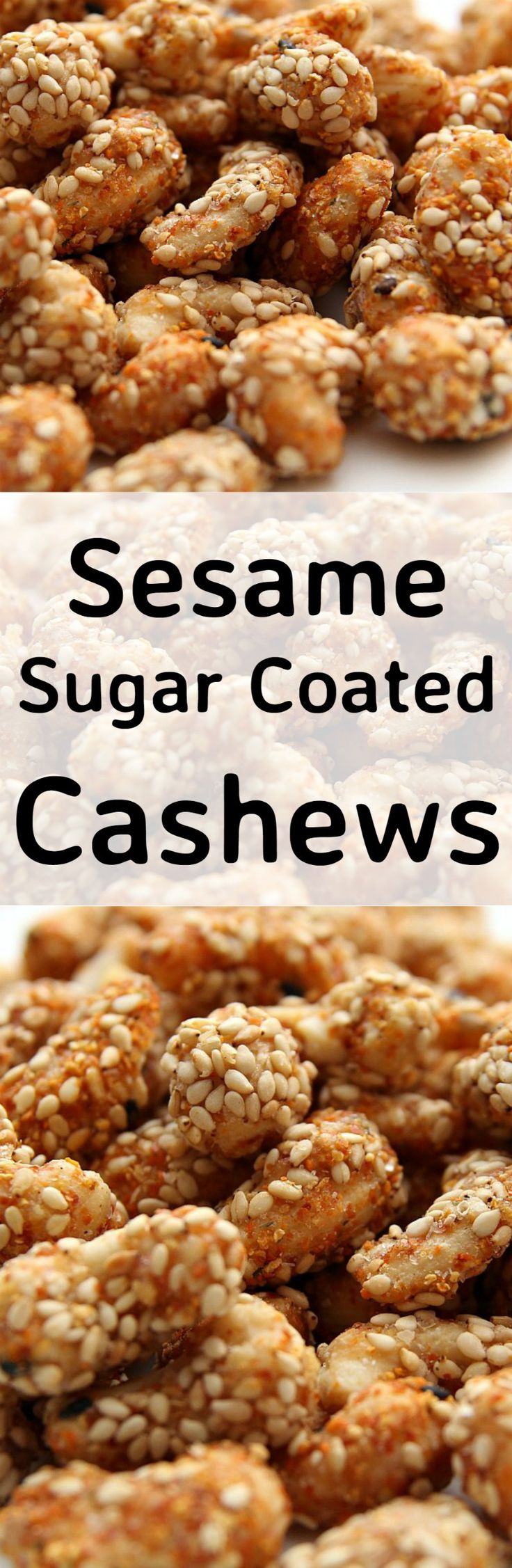 Sesame Sugar Coated Cashews. These are delicious served warm! The sugar coating along with the sesame and other spices makes for a lovely flavor. Recipe also has other flavor suggestions for you to try so make up a batch soon! | Lovefoodies.com