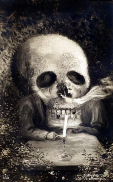 smokin: Skulls, Vintage Postcards, Skull Illusions, Skullart, Optical Illusions, Hidden Pictures, Illusions Art, Skull Art, Dinners Date