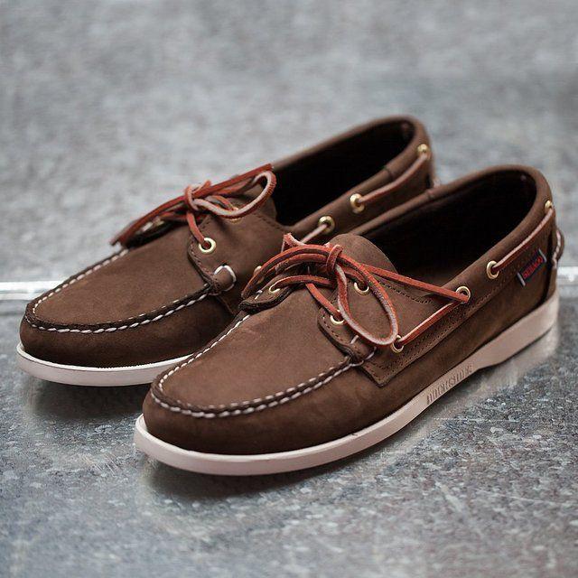 Dark Brown Nubuck Dockside Boat Shoes by Sebago