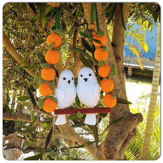 Sling necklace sling beads teething beads orange por OmGanchillo