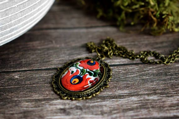 Hungarian folk matyó necklace red tulip jewelry vintage