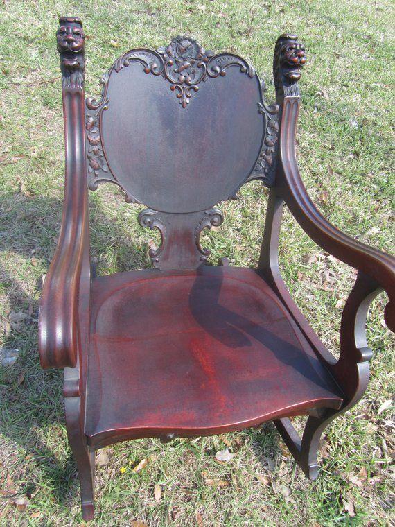 Antique Chair Lions Head Griffin Furniture Rocking