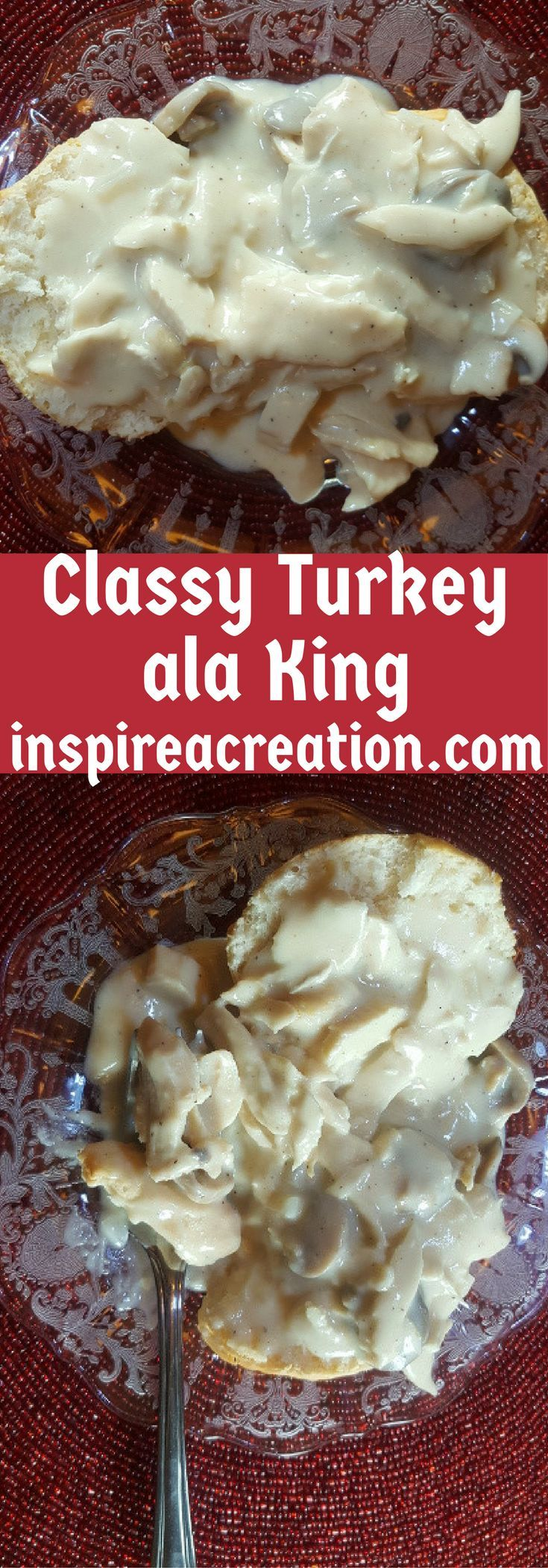With quick and easy Classy Turkey ala King, you can use leftover turkey or chicken and fresh or canned mushrooms in this recipe. #turkey #leftovers #biscuits #maincourse #recipe #recipes